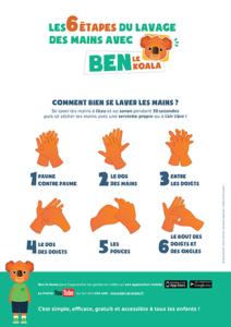 Les 6 étapes du lavage des mains avec Ben le koala